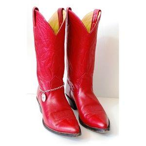 Nocona Red Western Boots Mens 6.5C / Ladies 7.5-8